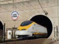 Eurotunnel Train Exiting Tunnel