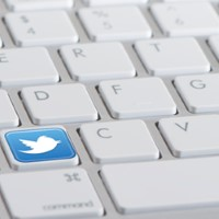 Twitter Logo on Computer Keyboard